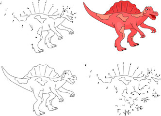 Cartoon Spinosaurus. Vector illustration. Coloring and dot to do