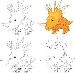 Cartoon styracosaurus. Vector illustration. Coloring and dot to