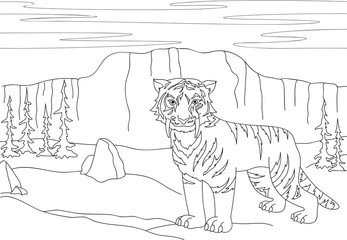 Cartoon saber-toothed tiger on the background of a prehistoric n