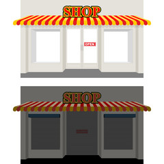 Obraz Shop by day and night. Storefront at dusk. Shop window in Sun. S - fototapety do salonu
