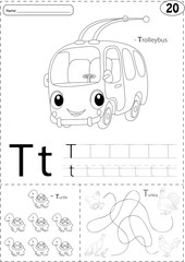 Cartoon trolleybus, turtle and turkey. Alphabet tracing workshee