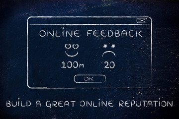 online feedback pop-up window with text Build a great online rep