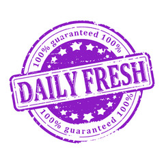 Scratched round purple stamped - daily fresh - vector svg