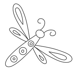 Outlined hand drawn dragonfly