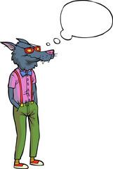 Cartoon hipster wolf
