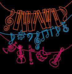 hand drawn musical instruments, piano keys, musical notes hangin
