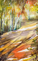 Watercolor painting depicted autumn road in forest.