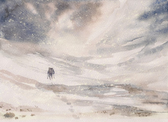 Man hiking in mountains during winter snowy blizzard.Picture created with watercolors.