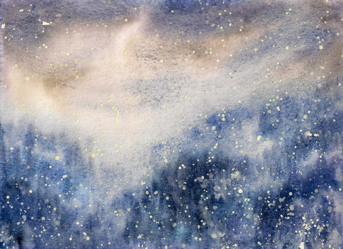 Abstract texture snowy blizzard winter watercolor painted.