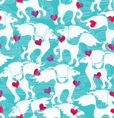 Sky horses. Romantic seamless pattern.