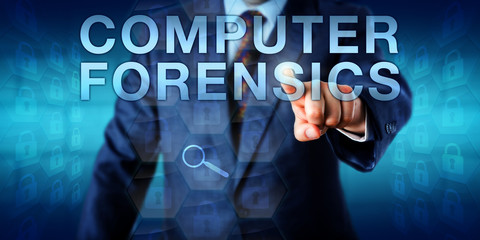 Forensic Expert Pressing COMPUTER FORENSICS