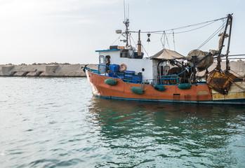 fishing boat in port of Jaffa, Tel Aviv, Israel