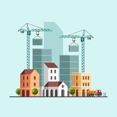 Construction site. Under construction. Building business. Construction industry. Vector flat illustration.