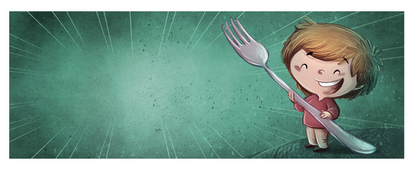 niño con tenedor gigante