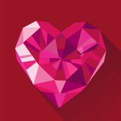 Polygonal vector red crystal heart flat Valentine's day card.