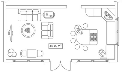 Architectural set of furniture. Interiors elements for house, cottage, office, floor plan. Thin lines icons. Equipment, tables, sofa, people, flowers. Standard size. Vector