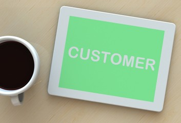 Customer, message on tablet and coffee on table