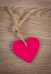 Decoration of pink wooden heart for Valentines Day