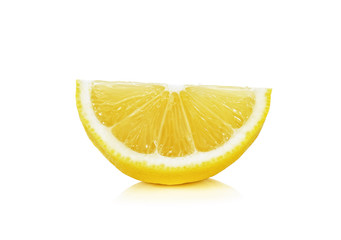 Sliced of lemon isolated on the white background