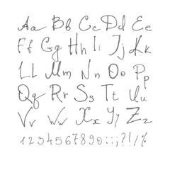 hand drawn leters and numbers of latin alphabet