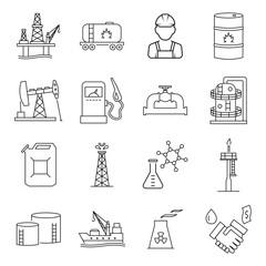 Oil industry gasoline processing symbols icons set.
