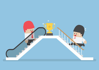 Businessman who use escalator to success and his rival climbing