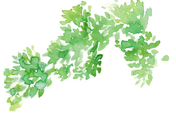 Watercolor green leaves abstract Wall mural