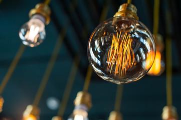 Round glowing tungsten lamp