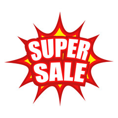 Super sale text with comic splash icon