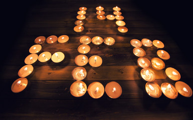 Valentines Day Composition: 14 of February written with candles