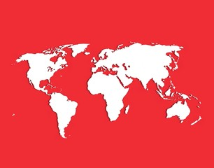 Red World Map Concept And Graphic Art Desing Image