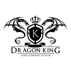 Dragon king logo,dragon logo,crest logo,vector logo template