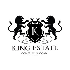 King lion crest logo design for hotel and real estate brand identity