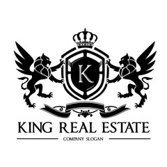 King crest logo,lion logo,real estate logo,hotel logo,vector logo template