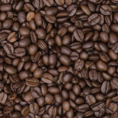 Roasted coffee beans. Close-up of coffee beans for background.