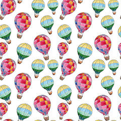 Watercolor hand drawn sketch seamless pattern with air balloons on white background