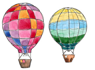 Watercolor hand drawn sketch set of two air balloons isolated