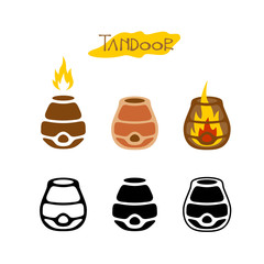 Tandoor illustration. Black monochrome and color logo style icon