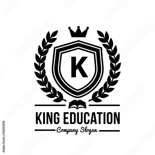 """King education logo luxury crest brand identity for ..."