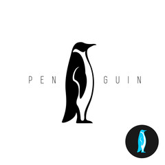 Penguin black silhouette vector logo. Side view of a standing pe