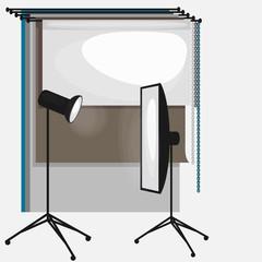 Set of photo studio equipment, paper photo background, light soft flat icons,  flash, reflector, softbox