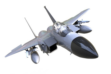 F-16 Fighting Falcon isolated and background