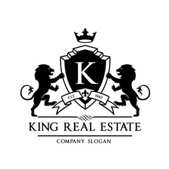 King royal,crest logo,lion logo,king logo,crown logo,vector logo template