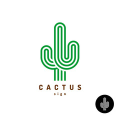 Cactus logo. Parallel rounded lines style illustration.
