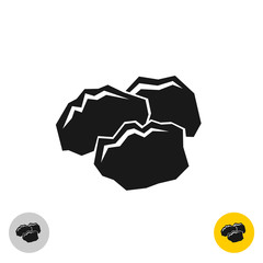 Coal black rocks icon. Three pieces of a coil together symbol.