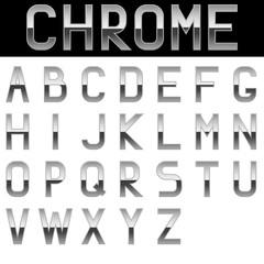 Alphabet. Chrome letters.