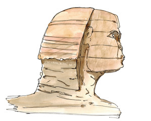 Watercolor Hand drawn sketch Sphinx of Giza, Egypt isolated on white