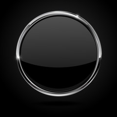 Black button with metal chrome frame.