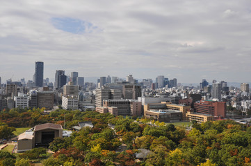 Osaka city view from the top of Osaka castle (autumn season)