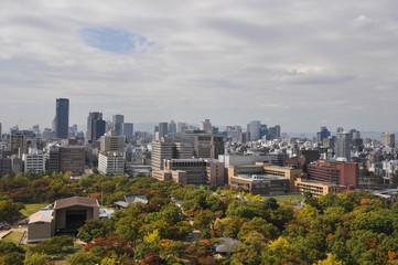 Osaka city view from the top of Osaka castle (autumn season)